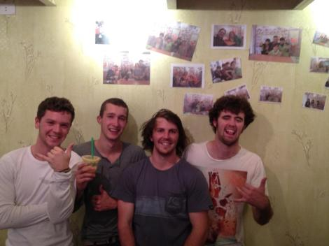 Brent, Daan, Me and Jack (Under a photo of ourselves from the night before) at 2Q Fresh Juice Fresh You