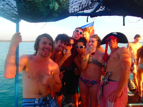 Jack and I on the Dolphin Shack Booze Cruise with others