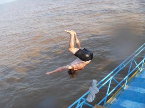 Backflipping off the boat